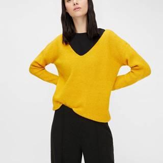 Žltý sveter s prímesou vlny Pieces Babett