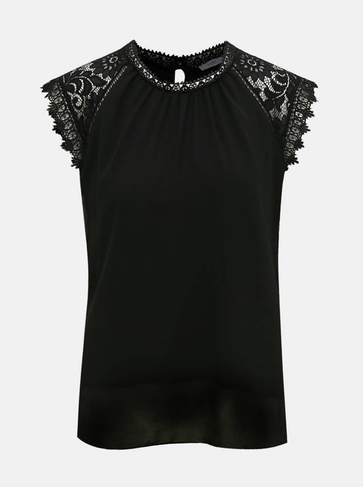 Čierna blúzka s krajkovými detailmi Haily´s