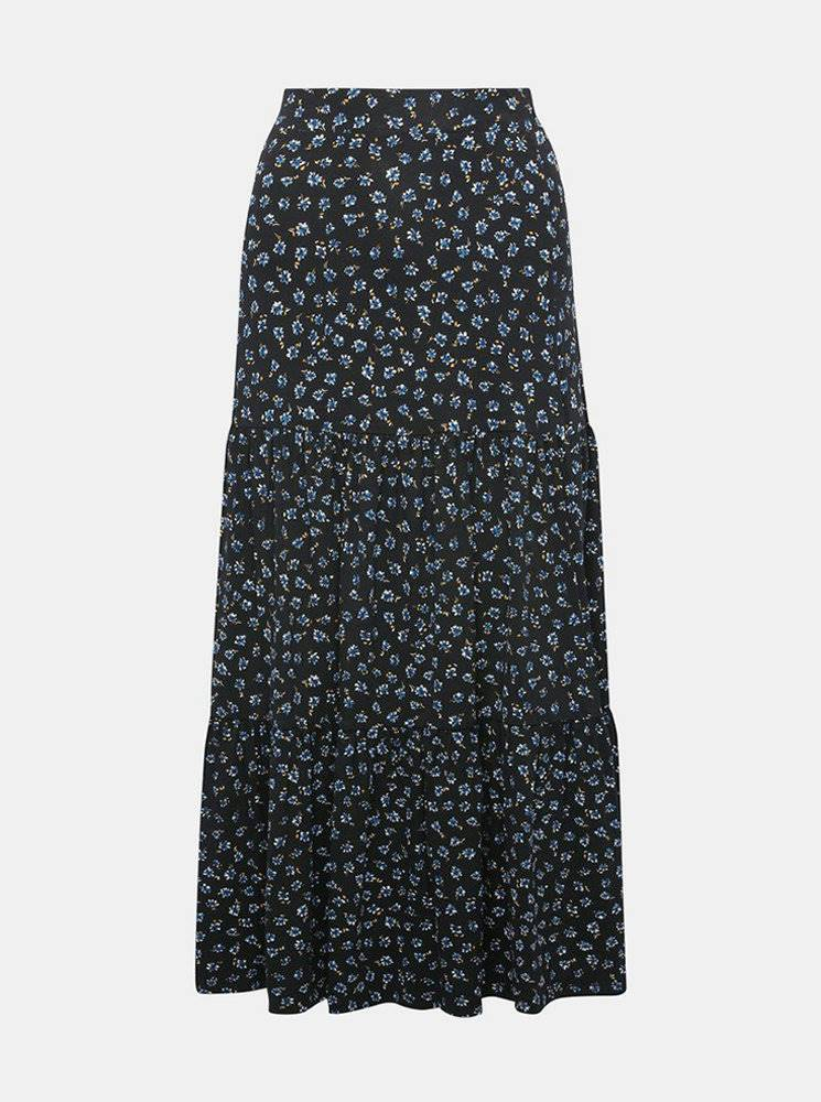 Tmavomodrá kvetovaná maxi sukňa M&Co