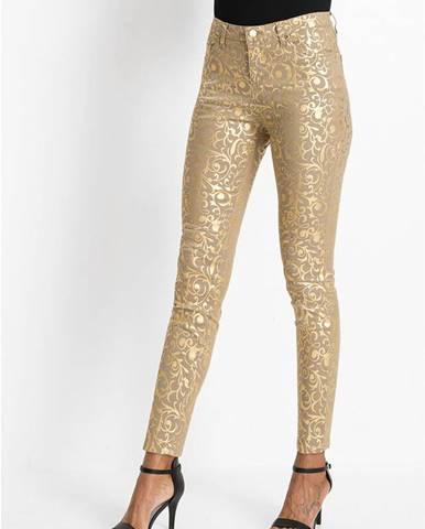 Nohavice so zlatým vzorom