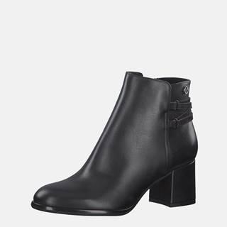 Čierne dámske kožené členkové topánky s.Oliver