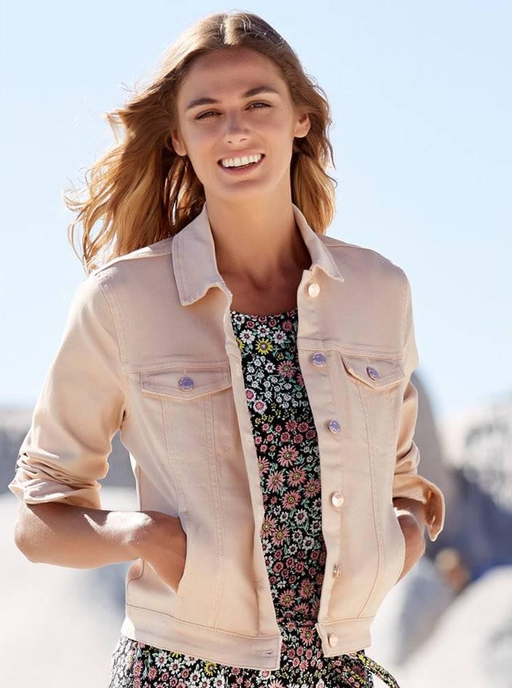 Svetloružová rifľová bunda M&Co