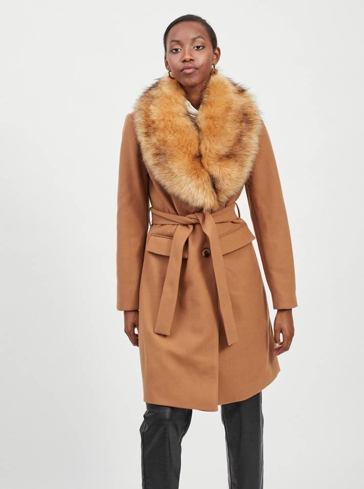 Hnedý kabát s odnímateľným kožúškom VILA