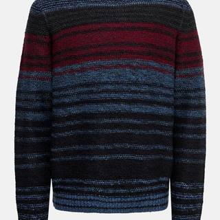 Modro-čierny pruhovaný sveter ONLY & SONS Callen