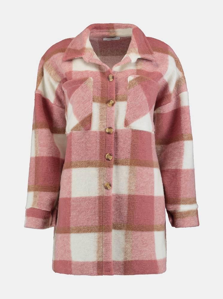 Ružová vlnená kockovaná košeľa Hailys