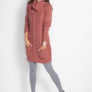 Pletené šaty s rolákom a vreckami