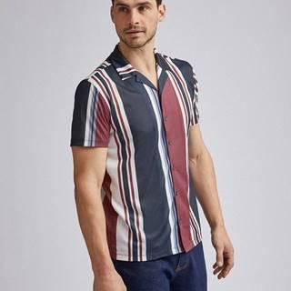 Vínovo-modrá pruhovaná košeľa Burton Menswear London