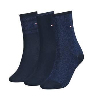 TOMMY HILFIGER - 3PACK lurex navy blue ponožky v darčekovom balení-39-42