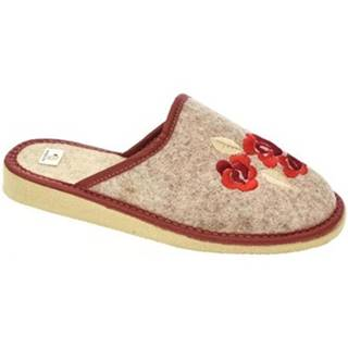 Papuče  Dámske béžovo-červené papuče KVETY