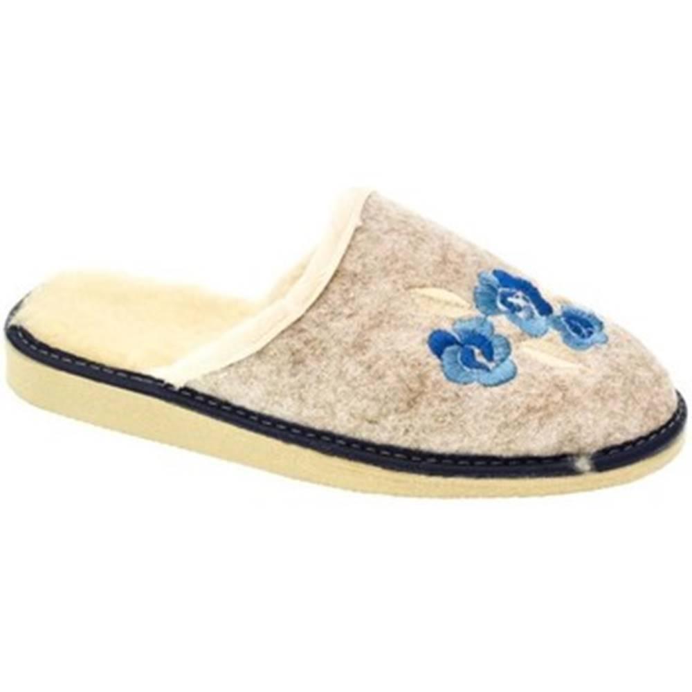 Papuče  Dámske béžovo-modré papuče KVETY