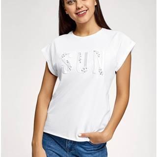 Tričko s výšivkou a umelými perličkami OODJI
