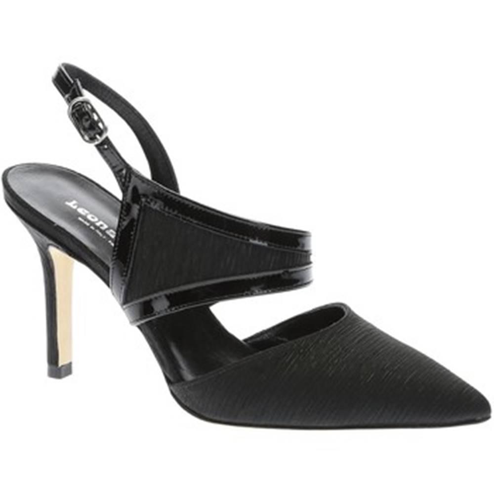 Sandále Leonardo Shoes  17140 PLISSE NERO VERNICE NERA T 2960 F DE