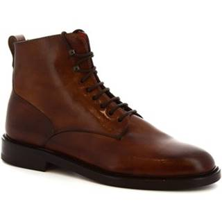 Čižmy do mesta Leonardo Shoes  8030I18 TOM VITELLO DELAVE BRANDY