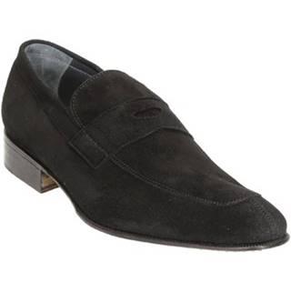 Mokasíny Leonardo Shoes  PINA 8 CAMOSCIO NERO