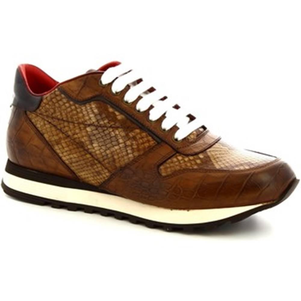 Nízke tenisky Leonardo Shoes  9234/19 COCCO AV BRANDY