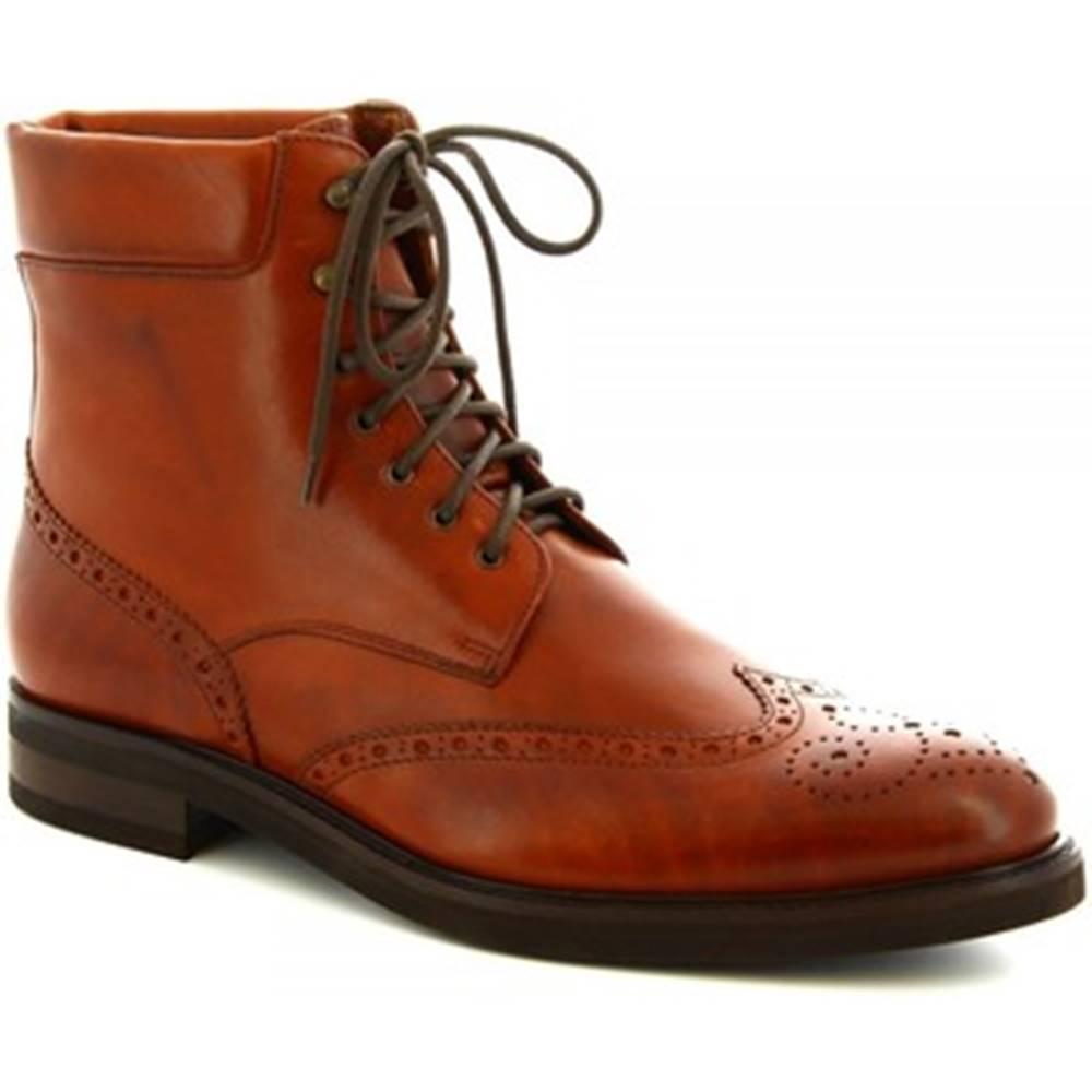 Polokozačky Leonardo Shoes  07331/FORMA 40 FULL MARRONE