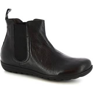 Polokozačky Leonardo Shoes  4526 STROPICCIATO NERO