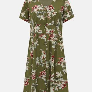 Kaki kvetované šaty ONLY CARMAKOMA Ona