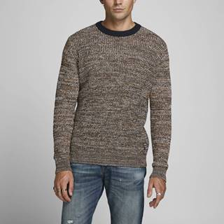 Hnedý žíhaný sveter Jack & Jones Orwoods