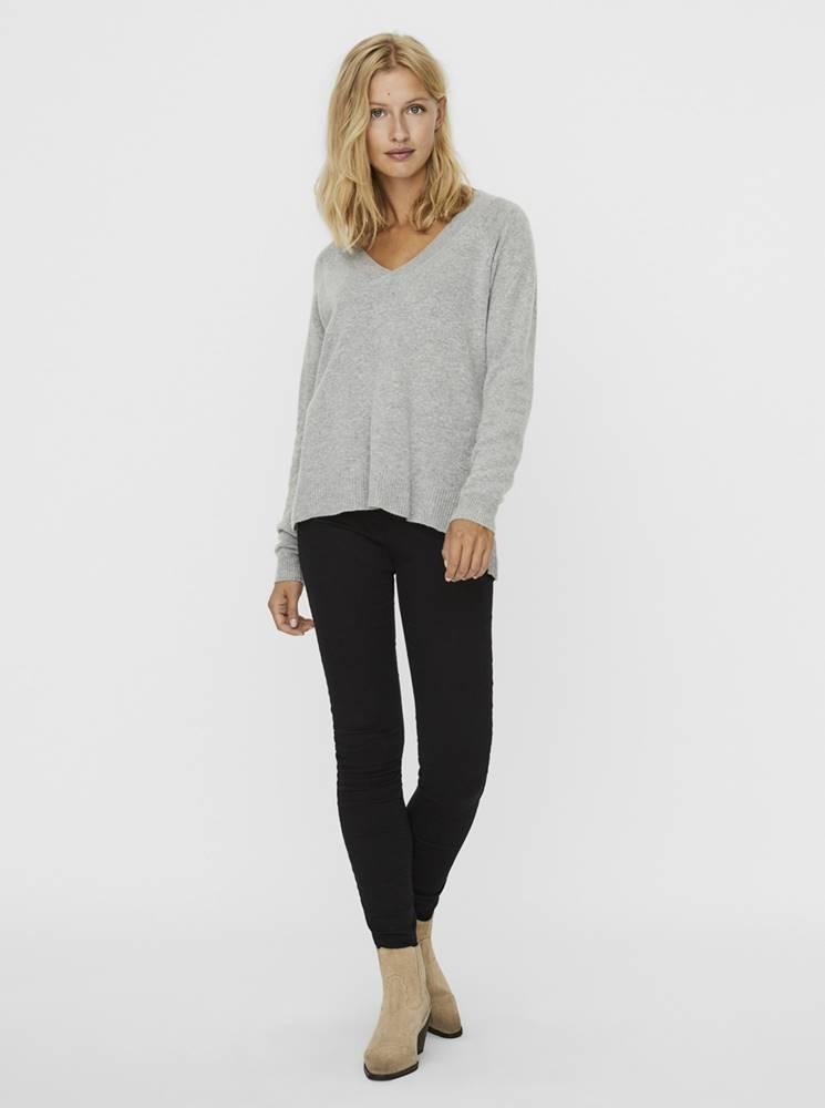 Svetlošedý vlnený sveter s prímesou kašmíru VERO MODA Darnel