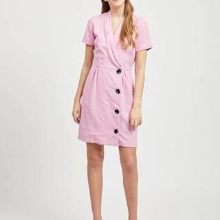 Ružové šaty s prímesou ľanu VILA Semah