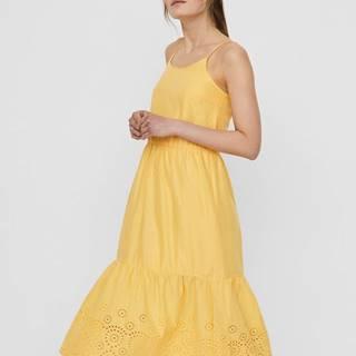 Žlté midišaty s madeirou VERO MODA Halo