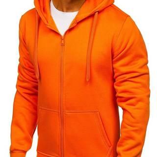 Oranžová pánska mikina s kapucňou