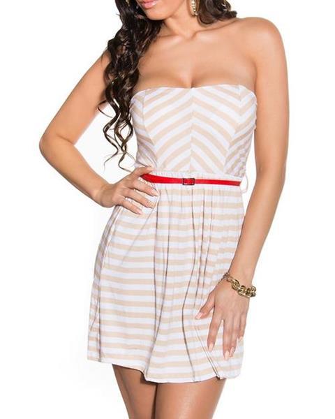 Dámske prúžkované mini šaty s červeným opaskom značky KOUCLA 6762107c2a