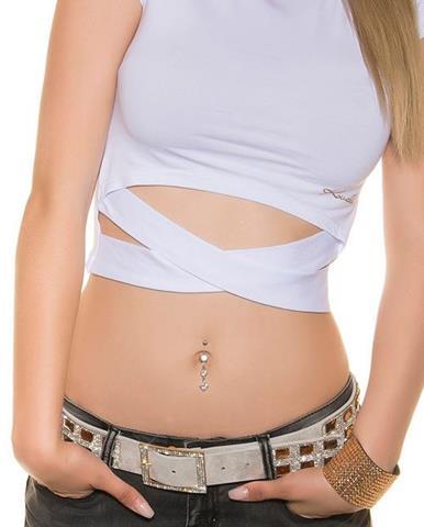 9b1ecd251138 Dámske krátke tričko so zvýrazneným pásom KouCla