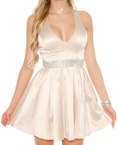 d7b5f9378bf3 Dámske večerné mini šaty s kamienkovým pásom
