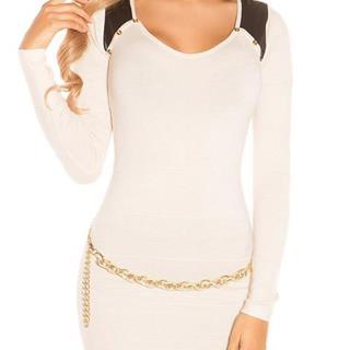 6a10c9f5350e Dámsky dlhý sveter s aplikáciami koženého vzhľadu značky KOUCLA