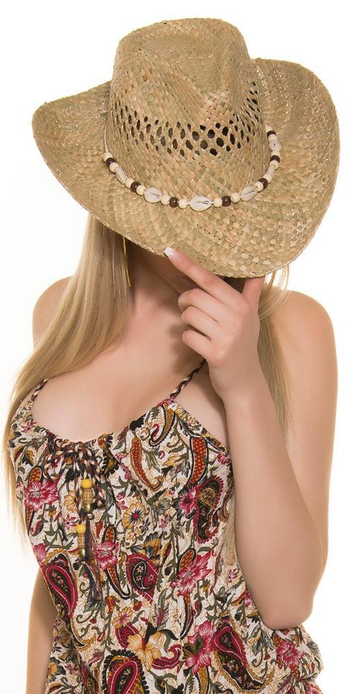 Dámsky slamený klobúk s muš...