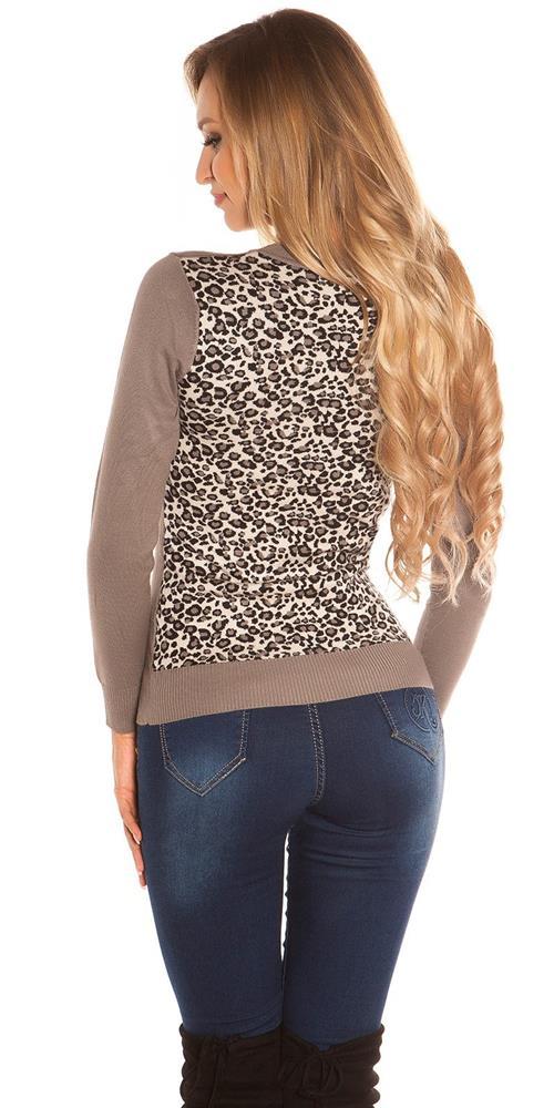 2fcec17f34cb Dámsky sveter s leopardím chrbtom značky KOUCLA