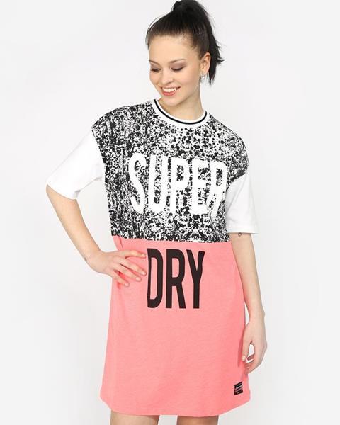 ZĽAVA 31% na Bielo-ružové dámske šaty s potlačou Superdry značky ... 6953a175a2c