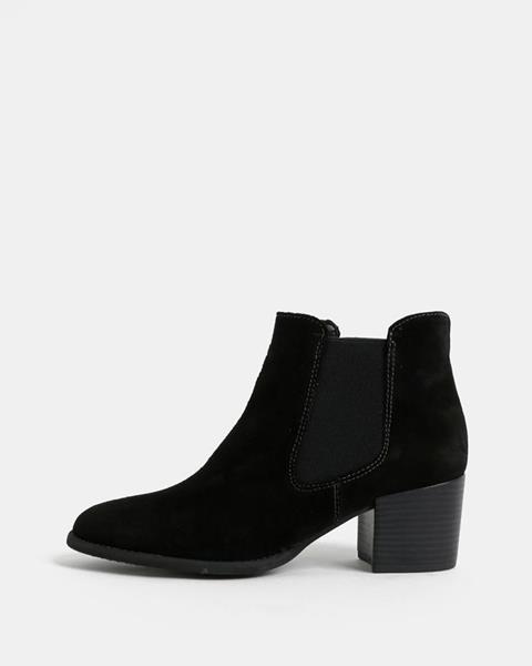Čierne semišové chelsea topánky na podpätku