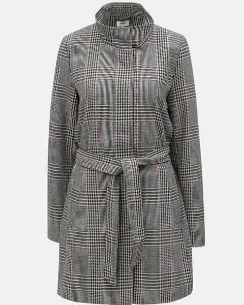 ZĽAVA 70% na Sivo-čierny vzorovaný kabát s opaskom ONLY Ashley ... 3a10355bbb7