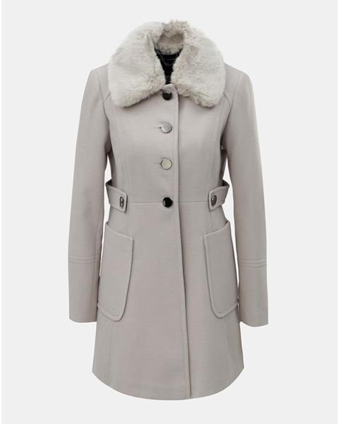 ZĽAVA 20% na Svetlosivý kabát s odnímateľným golierom z umelej ... 24e1182e098
