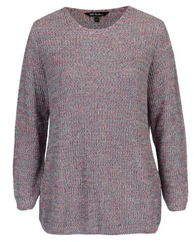 Modro-ružový rebrovaný sveter