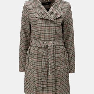 Béžový vzorovaný kabát s prímesou vlny