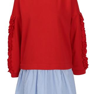 Červená mikina so všitou košeľou  Sunny