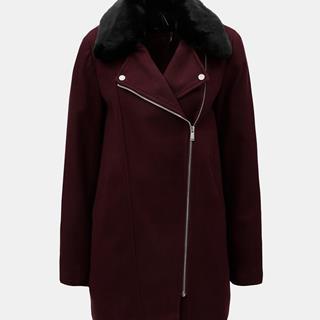 Vínový kabát s kožúškom