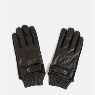 ... Hnedé dotykové rukavice s koženou vrchnou časťou v darčekovej škatuľke c33ce3549a