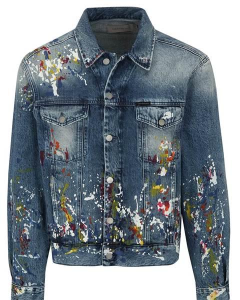 ZĽAVA 40% na Modrá pánska rifľová bunda s potlačou Calvin Klein Jeans 9379eb87a60