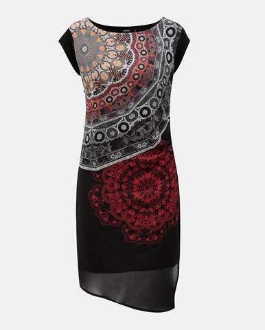 Sivo–čierne vzorované šaty s rozparkom 0f95b673944