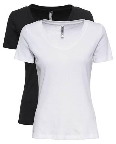 Vrúbkované tričko s V-výstrihom, 2 ks