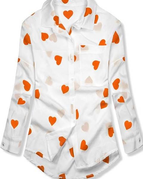 Bielo-oranžová košeľa so srdiečkami