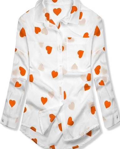 bfd6a7360b4b Bielo-oranžová košeľa so srdiečkami