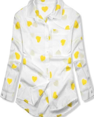 446ed38de053 Bielo-žltá košeľa so srdiečkami