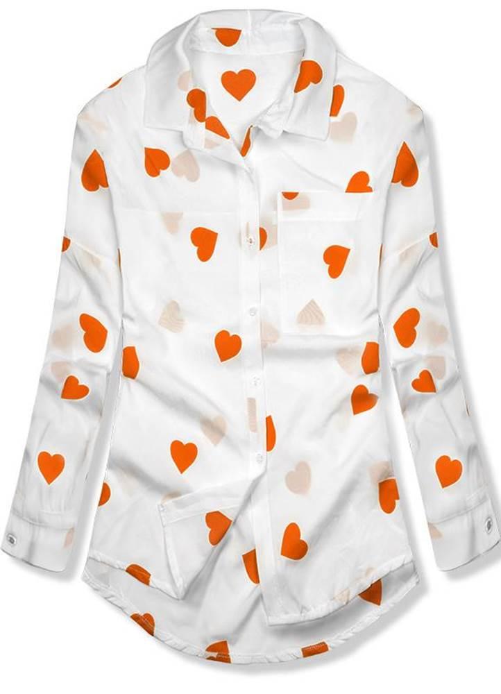 Bielo-oranžová košeľa so sr...