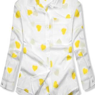 Bielo-žltá košeľa so srdiečkami
